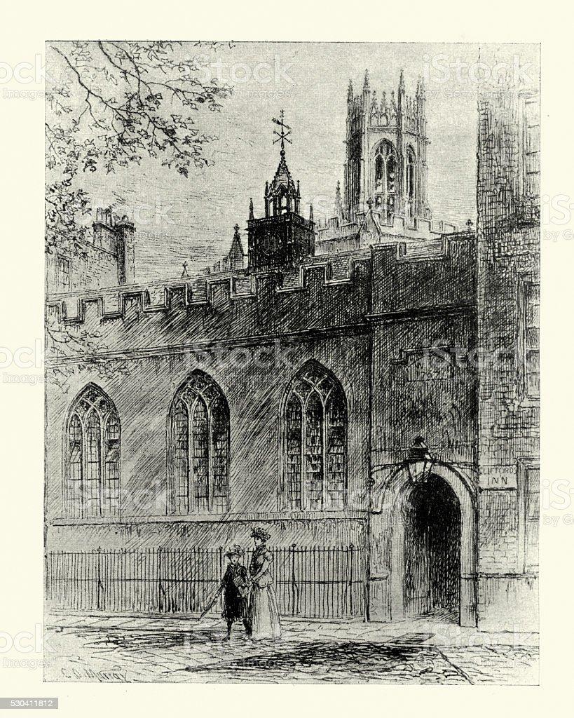 Hall at Cliffords Inn, London, 1899 vector art illustration