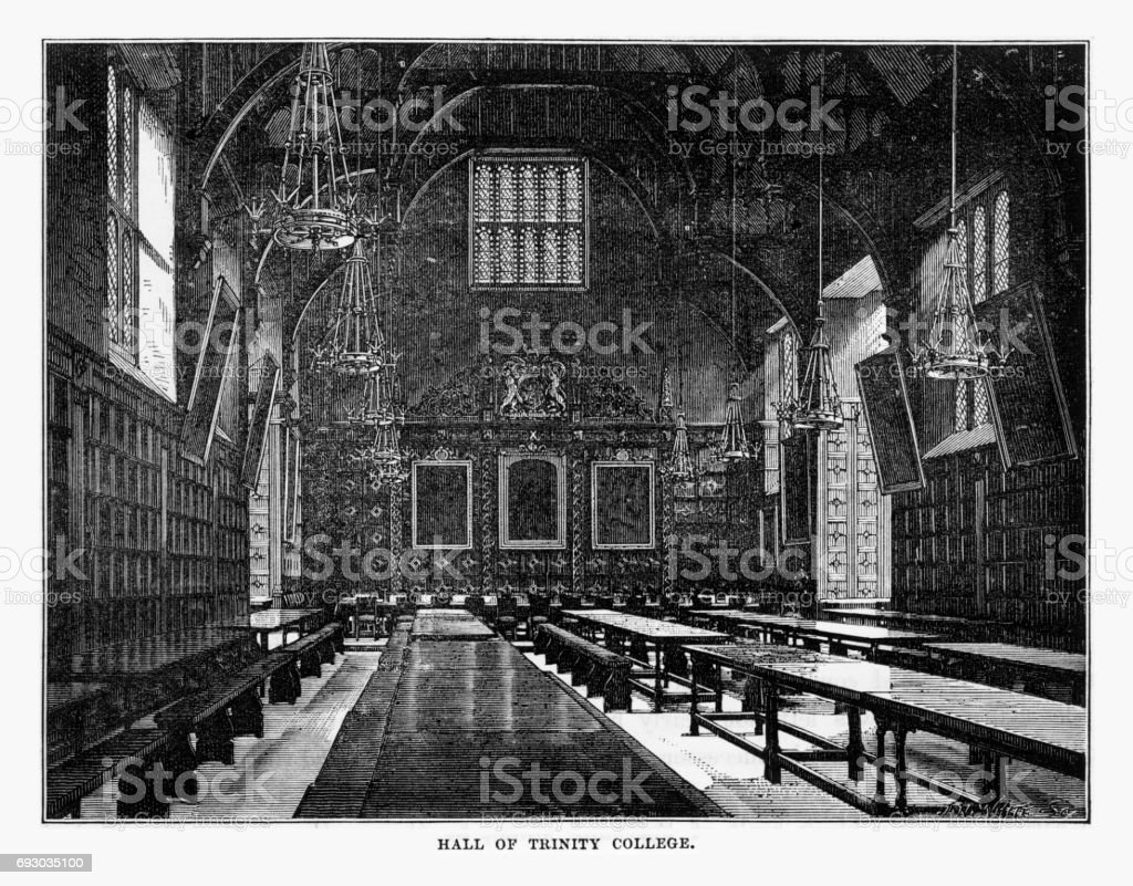 Hall of Trinity College, Cambridge, Cambridgeshire, England Victorian Engraving, 1840 vector art illustration