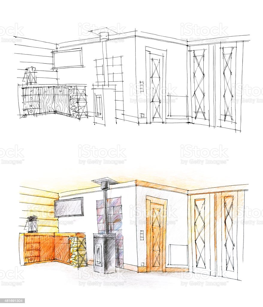 hall sketch with pencil in b/w and in color vector art illustration