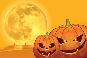 Halloween background [Jack o' Lantern and Full moon]