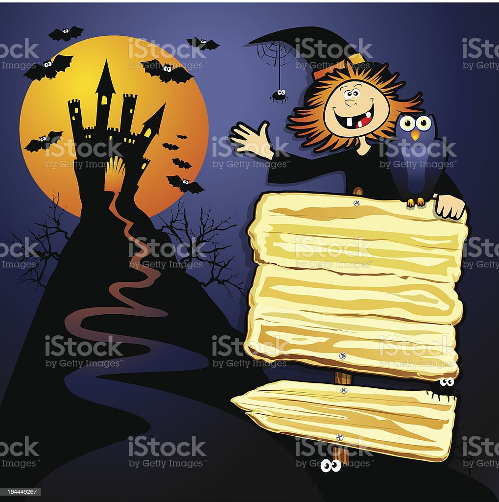 Halloween background with funny witch royalty-free stock vector art