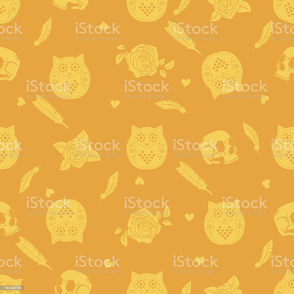 Halloween background with owl, skulls, roses and feathers royalty-free stock vector art