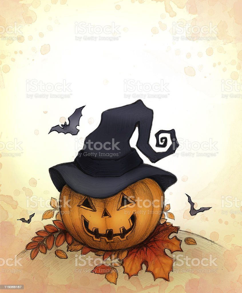 Halloween background with pumpkin royalty-free stock vector art