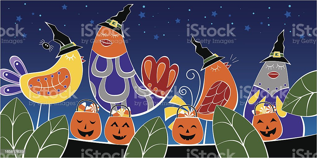 Halloween birds on a tree royalty-free stock vector art
