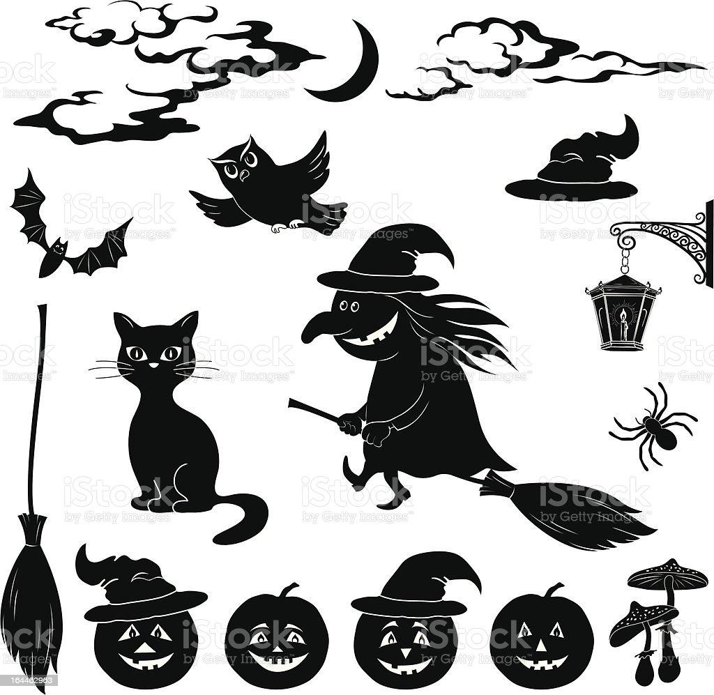 Halloween cartoon, set black silhouette royalty-free stock vector art