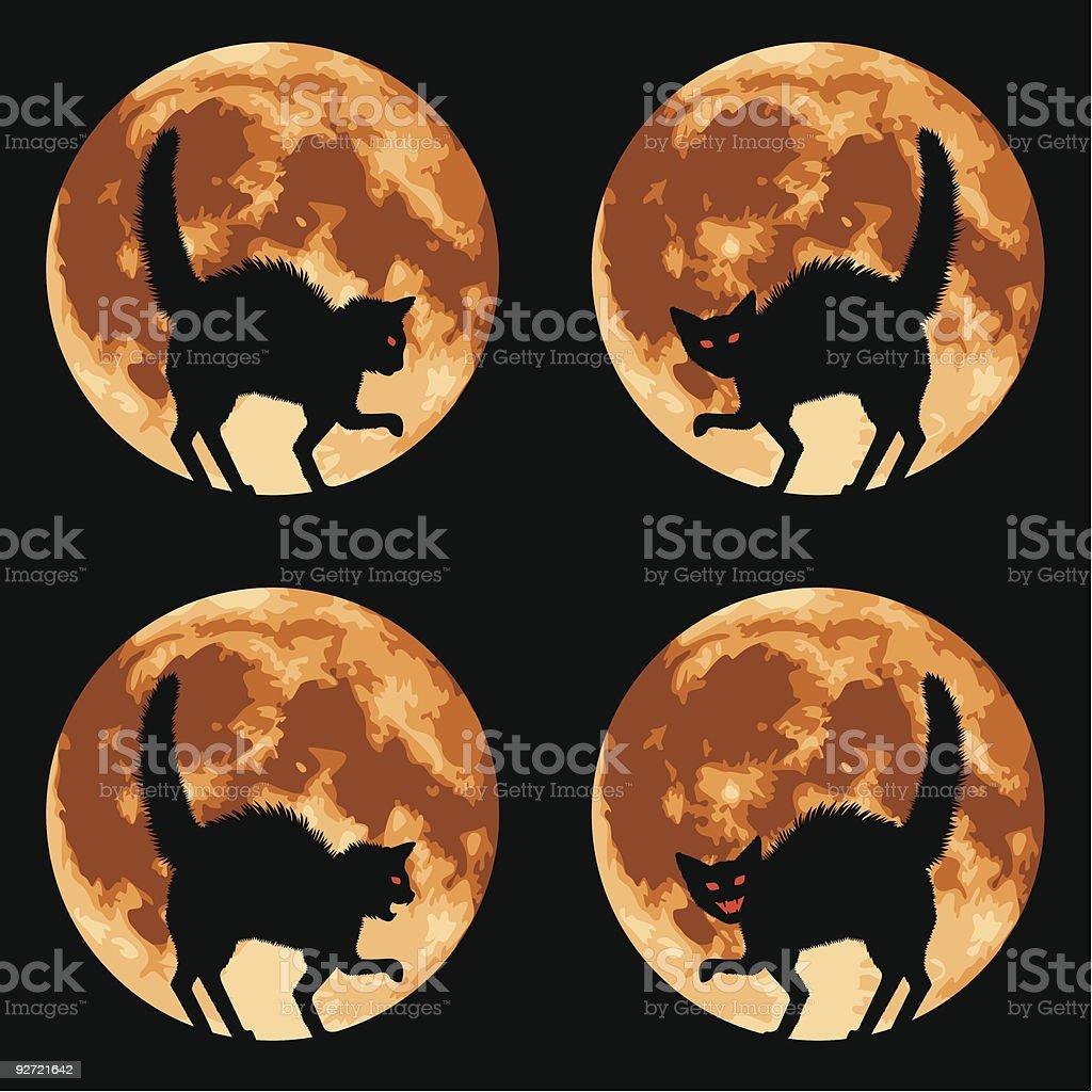 Halloween Cat with Full Moon royalty-free stock vector art