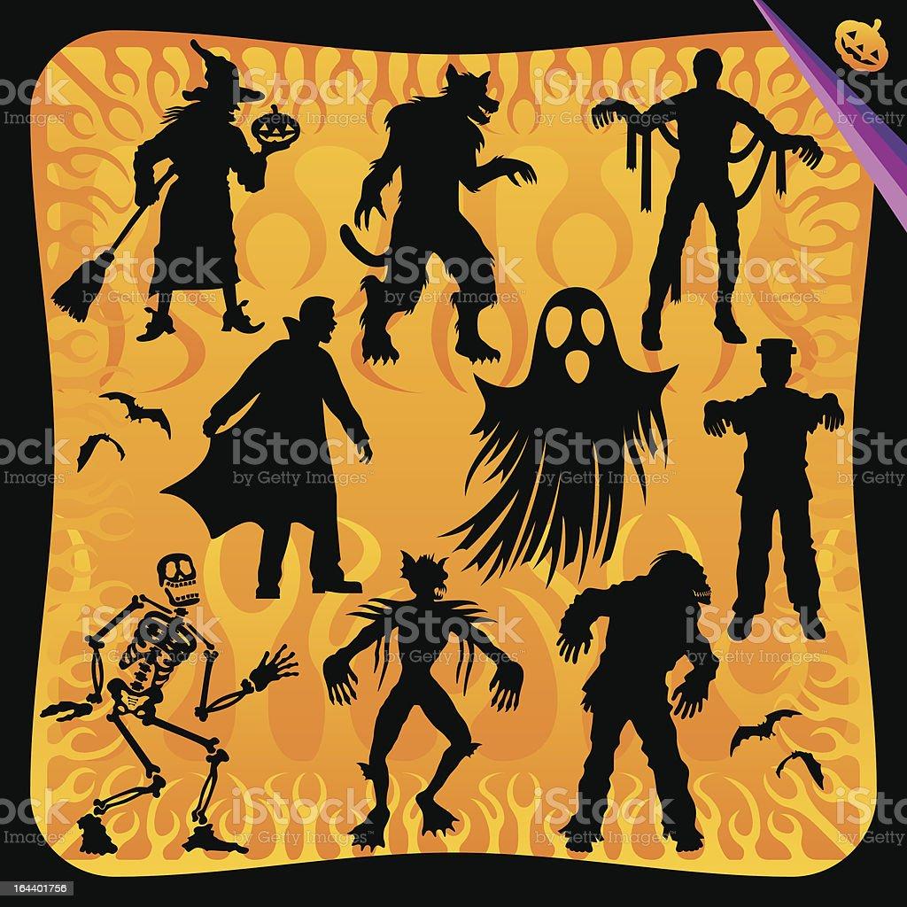 Halloween Characters Set royalty-free stock vector art