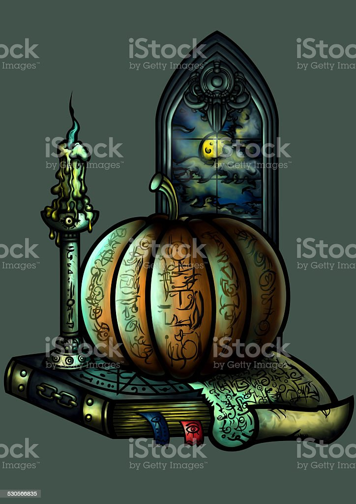 Halloween emblem with a pumpkin a candle a book and a window vector art illustration