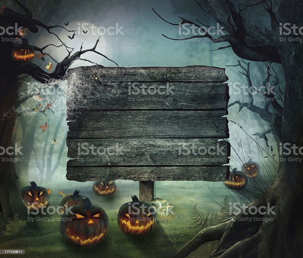 Halloween forest landscape with blank wooden sign vector art illustration