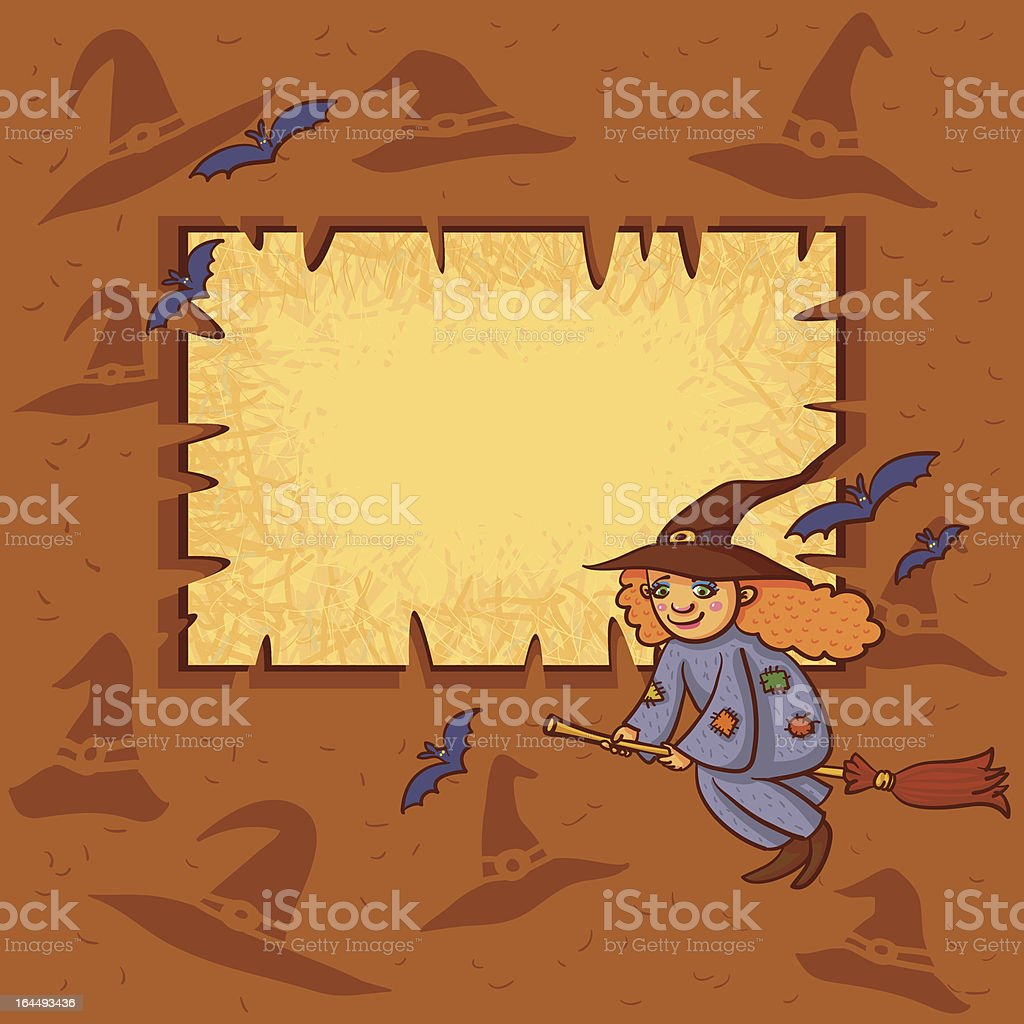 Halloween Frame With Little Witch On Broom. royalty-free stock vector art