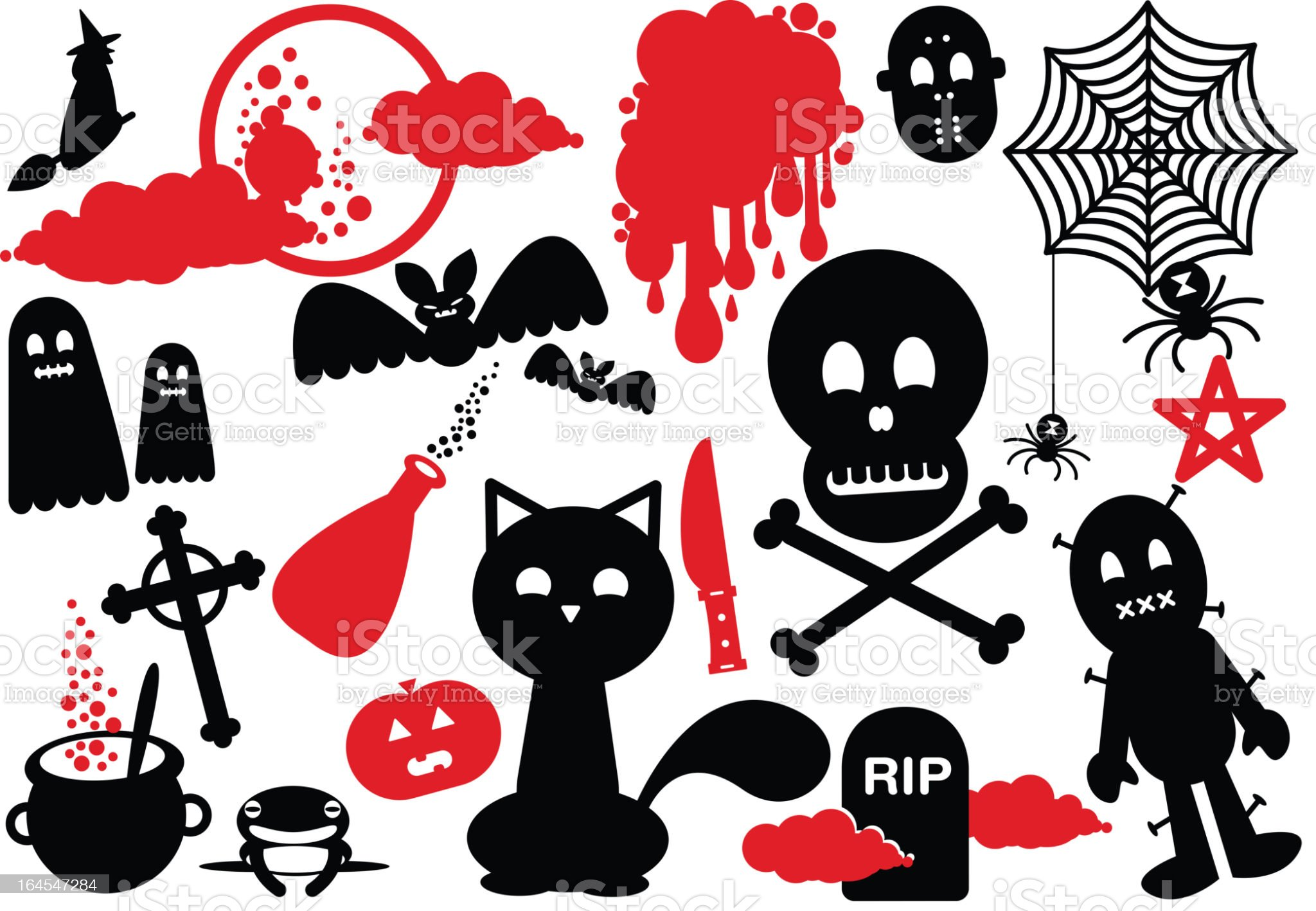 Halloween Funny Scary Icons witch skull spider cat tomb phantom royalty-free stock vector art