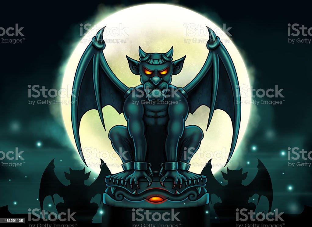 Halloween Gargoyle Illustration - Digital Painting vector art illustration