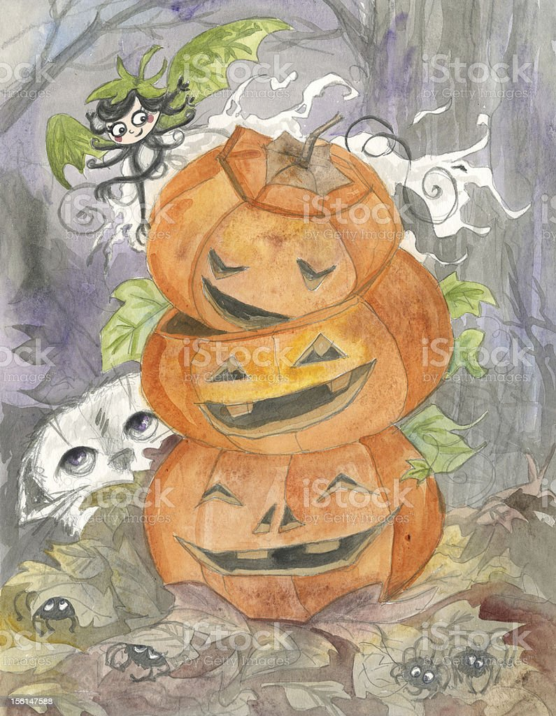 Halloween ghost and jack-o-lanterns royalty-free stock vector art