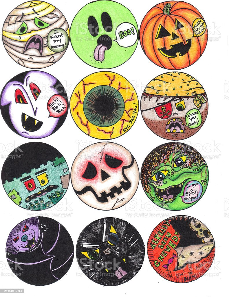 Halloween Ghouls vector art illustration