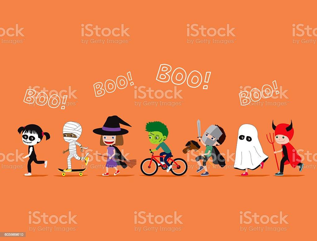 Halloween kids. Cute cartoon children in costumes vector art illustration