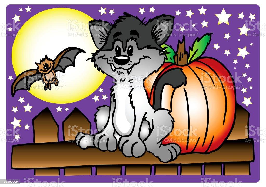 Halloween Kitty vector art illustration