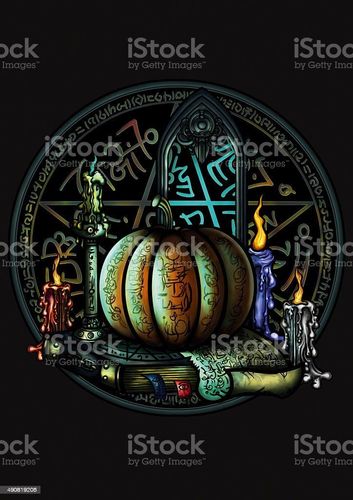 Halloween magic emblem with a pentagram and a pumpkin vector art illustration