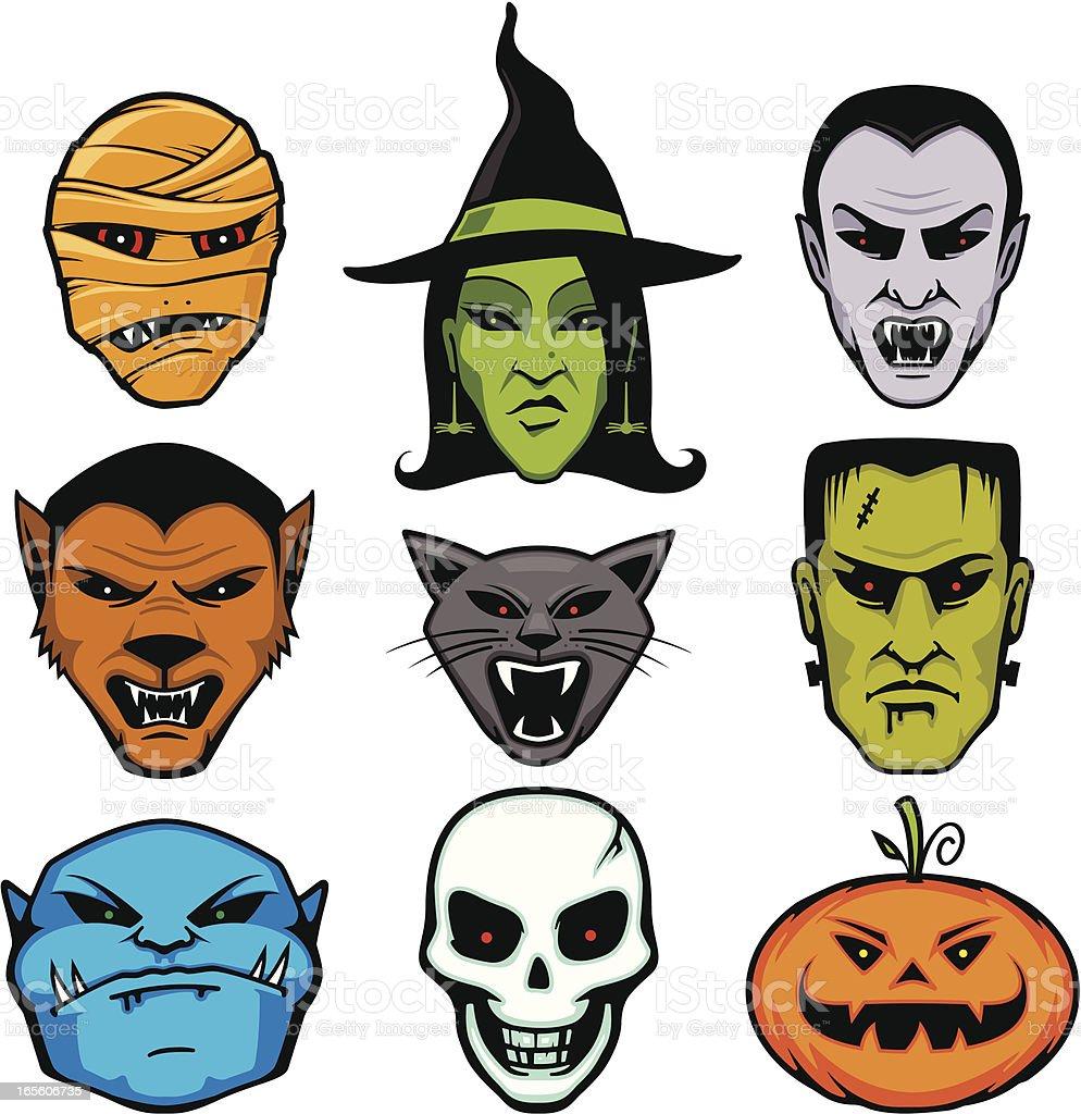 Halloween Meanies vector art illustration