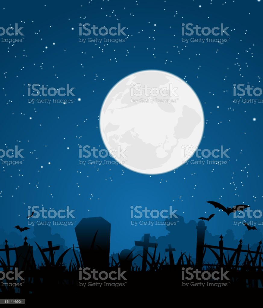 Halloween Moon And Graveyard royalty-free stock vector art
