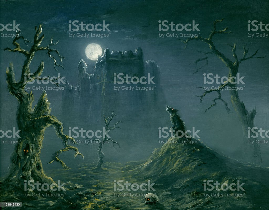 Halloween night vector art illustration