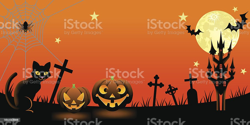 Halloween night with Black Cat royalty-free stock vector art