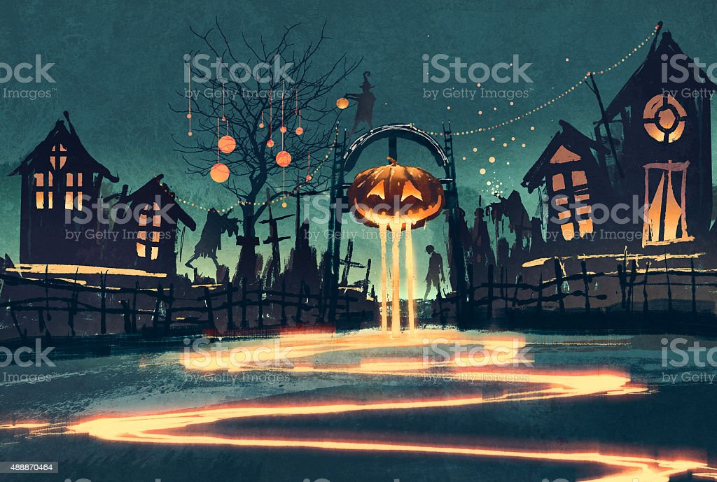 Halloween night with pumpkin and haunted houses vector art illustration