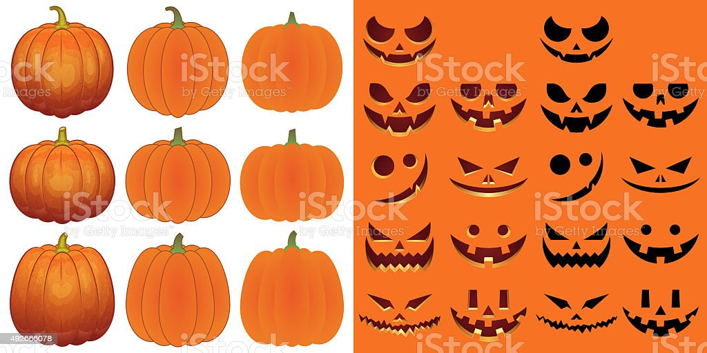 Halloween objects [Pumpkins and faces set] vector art illustration