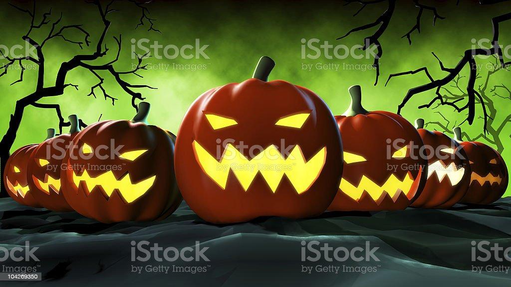 halloween pumpkins vector art illustration