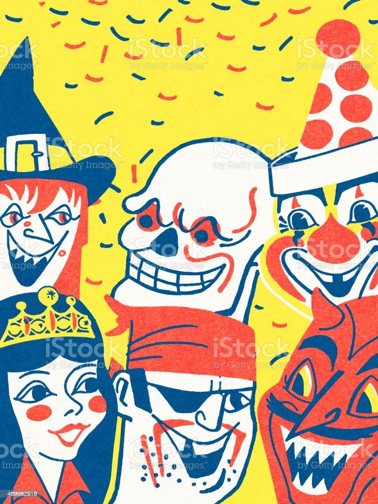 Halloween scene vector art illustration