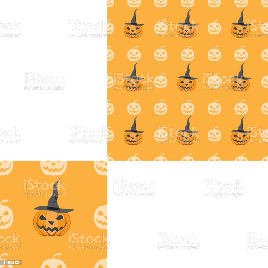 Halloween seamless pattern with pumpkins in magic hat on the lilac background with pattern unit. vector art illustration