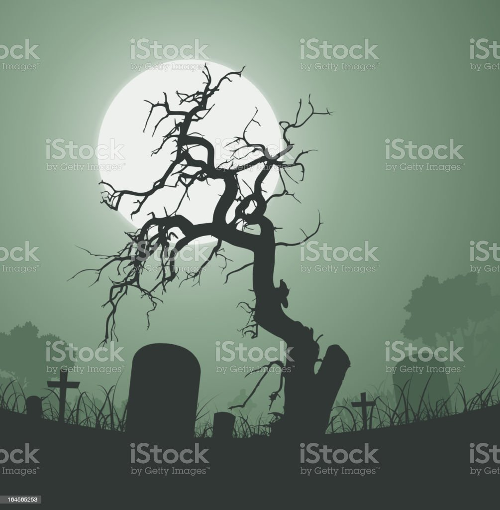 Halloween Spooky Dead Tree In Graveyard vector art illustration