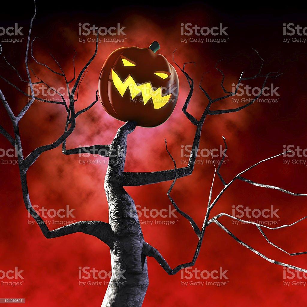 halloween tree vector art illustration