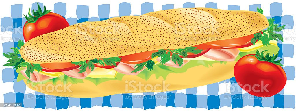Ham and Cheese Sandwich with Tomatoes vector art illustration