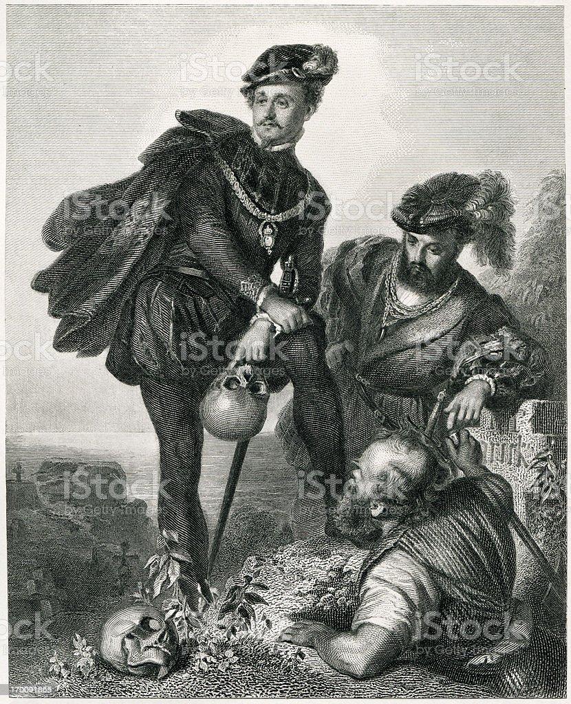 Hamlet vector art illustration