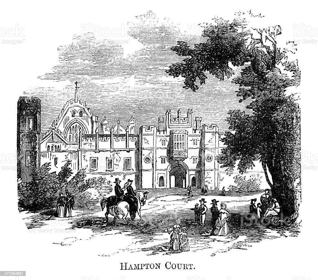 Hampton Court (1871 engraving) vector art illustration