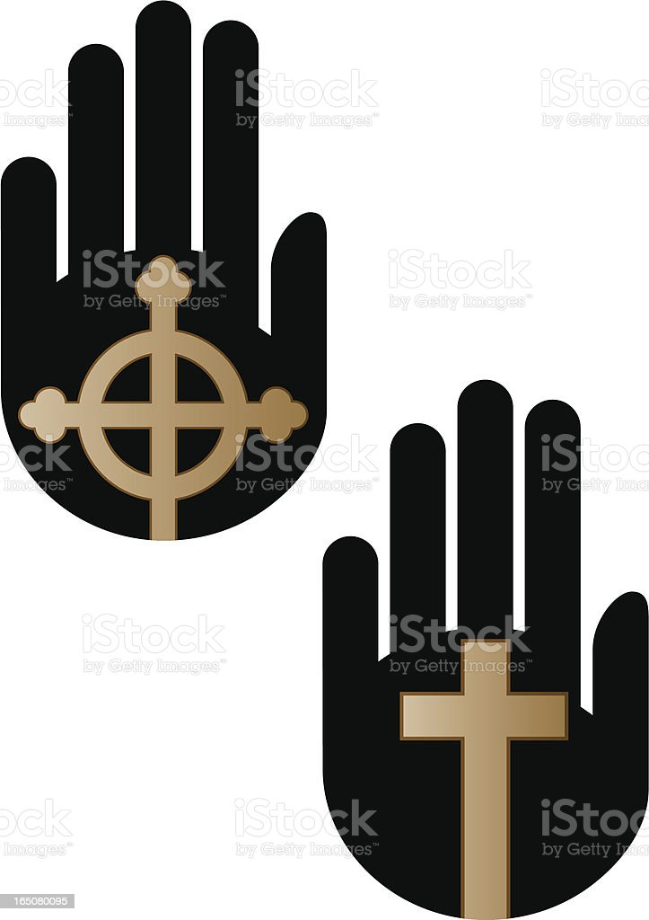 Hand and cross vector art illustration