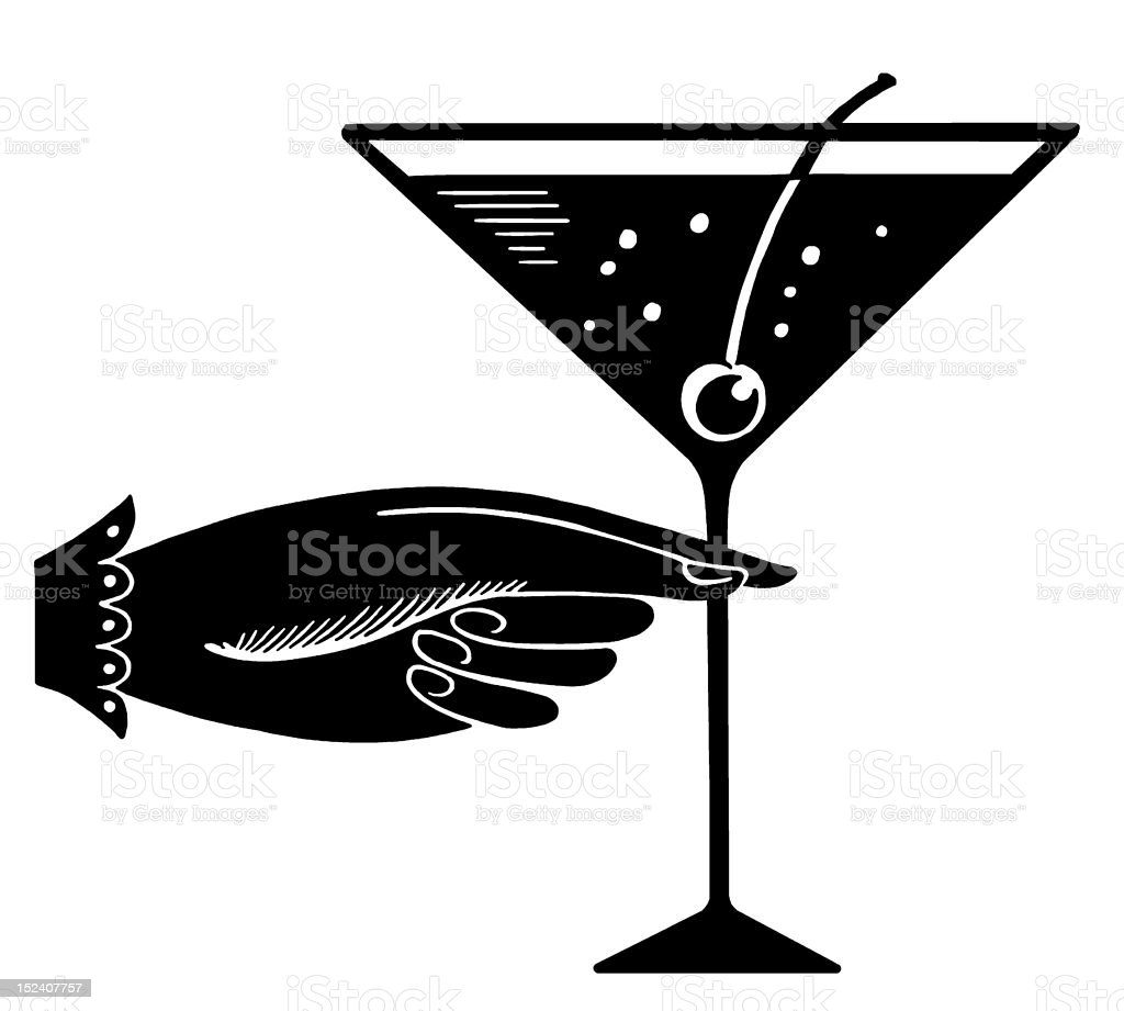 Hand and Martini royalty-free stock vector art