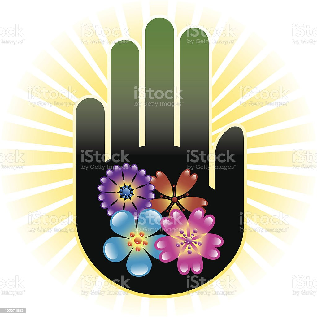 Hand and shiny flowers vector art illustration