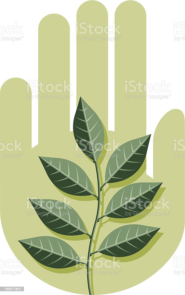 Hand and twig two royalty-free stock vector art