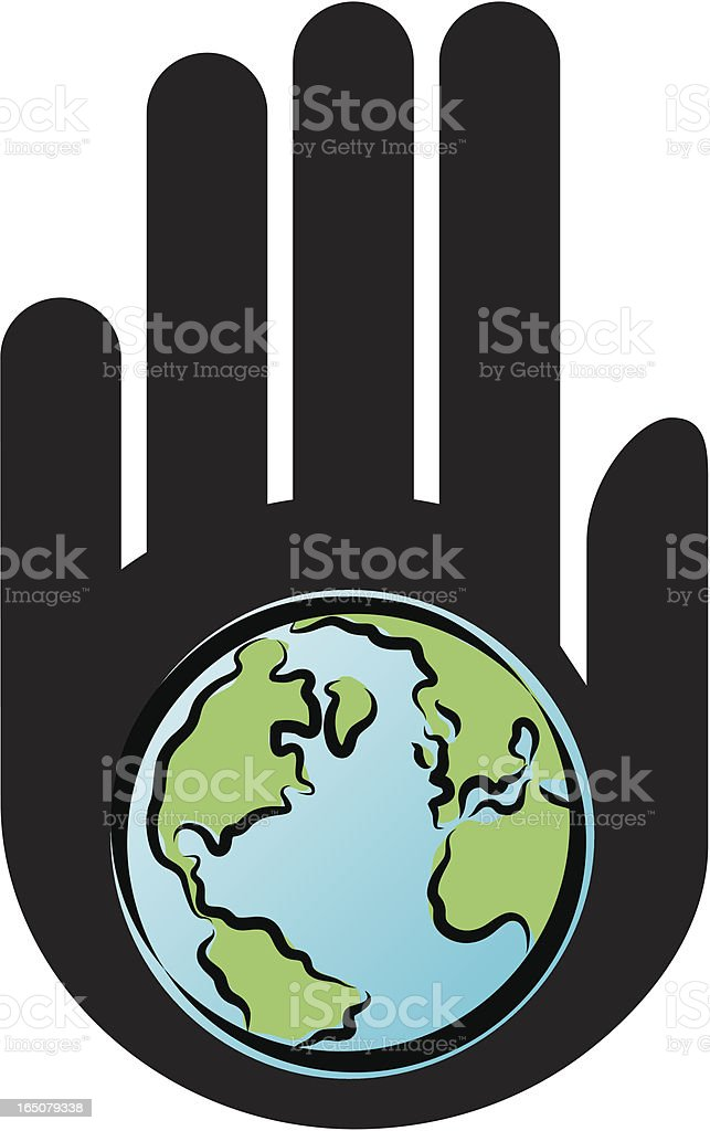 Hand and world royalty-free stock vector art