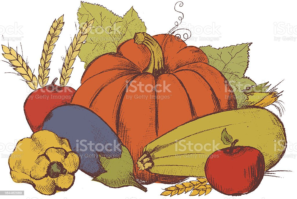 Hand Art picture of vegetables royalty-free stock vector art