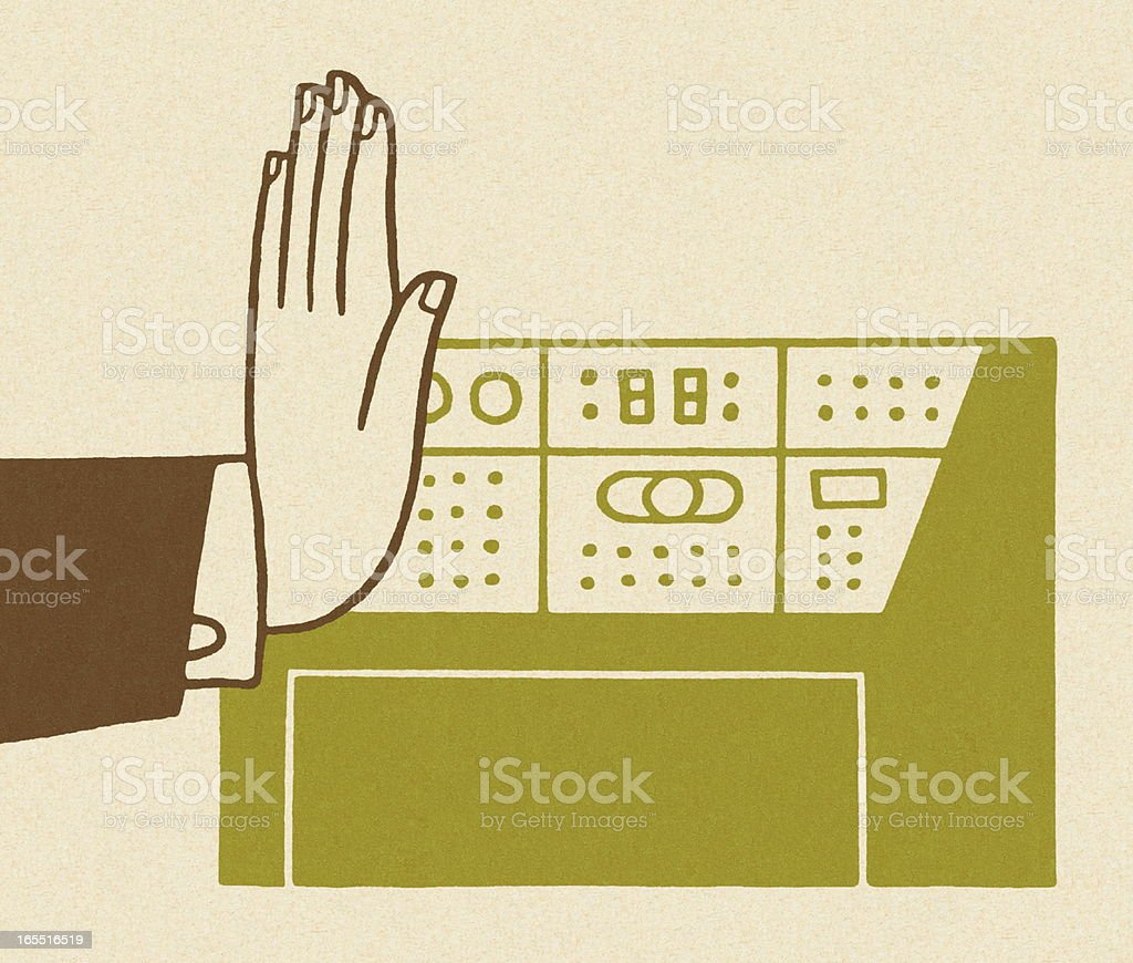 Hand by a Control Panel royalty-free stock vector art