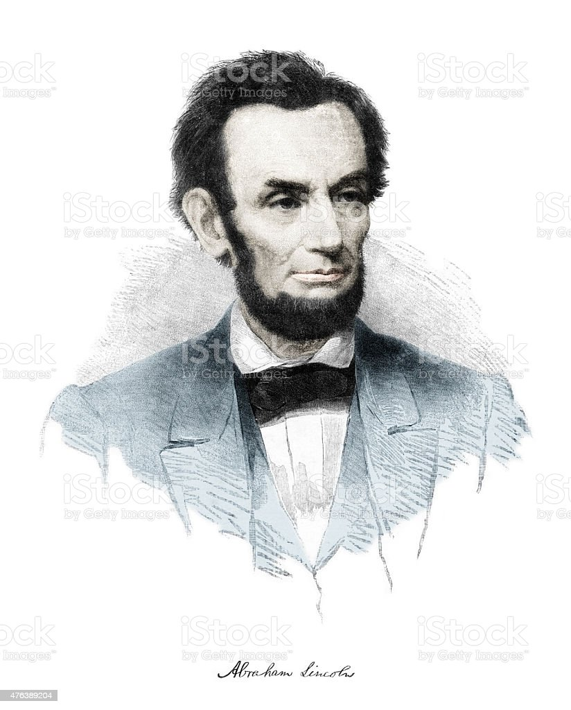 Hand Colored Abraham Lincoln Engraving vector art illustration