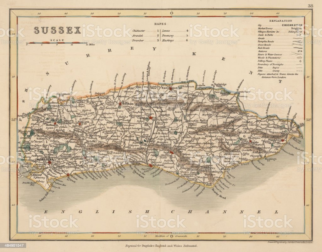 Hand coloured antique map of Sussex England vector art illustration
