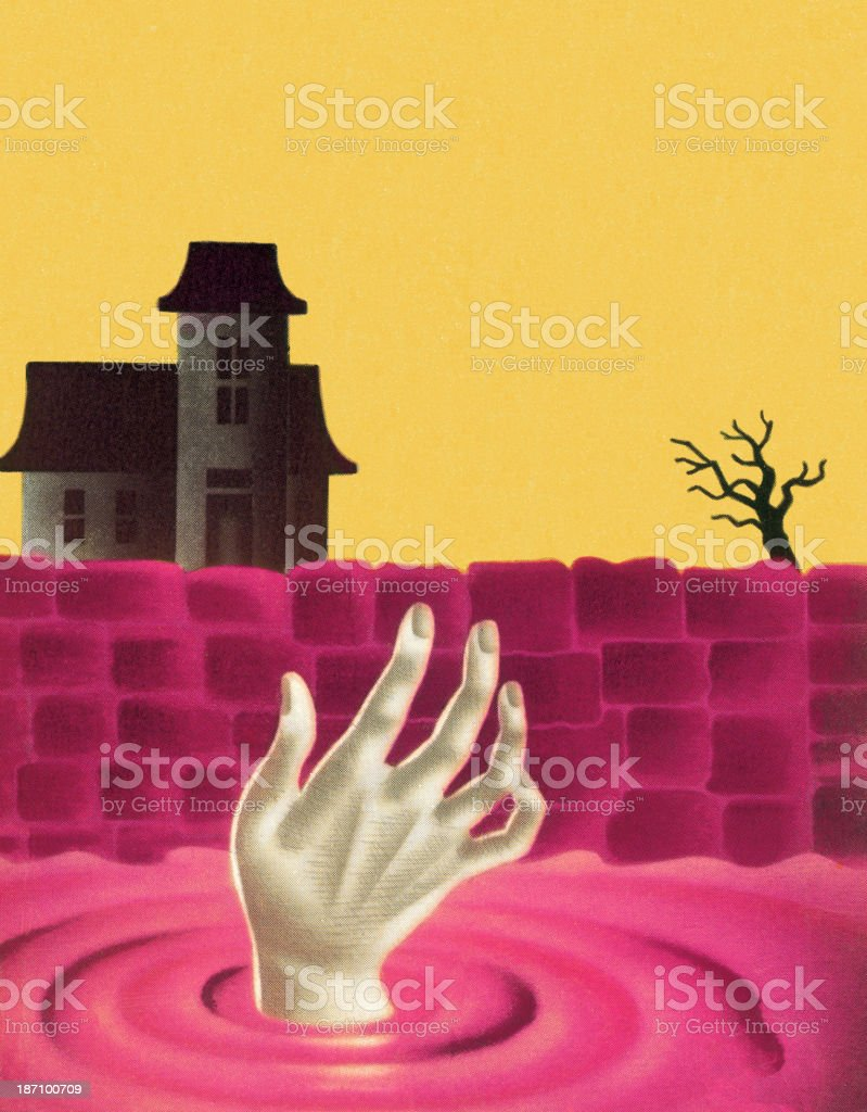 Hand Coming Out of Water royalty-free stock vector art