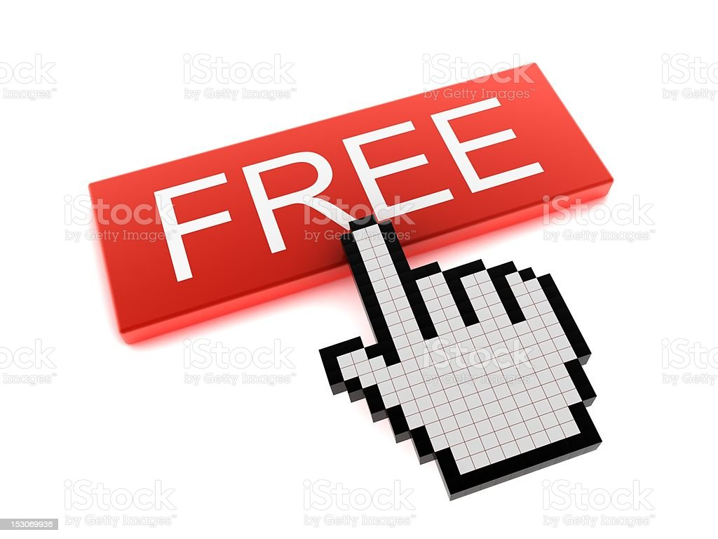 Hand Cursor on Free Button royalty-free stock vector art