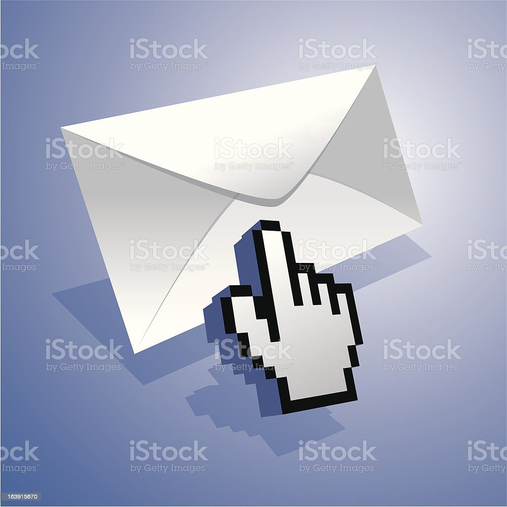 Hand cursor pointer on mail royalty-free stock vector art