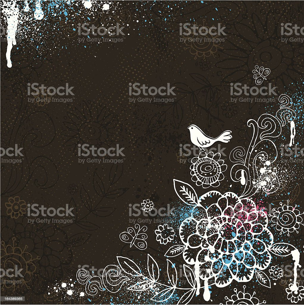 hand draw  flowers on brown background royalty-free stock vector art