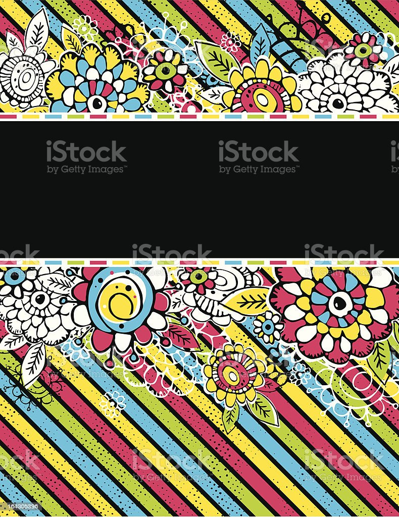 hand draw  flowers on color background royalty-free stock vector art