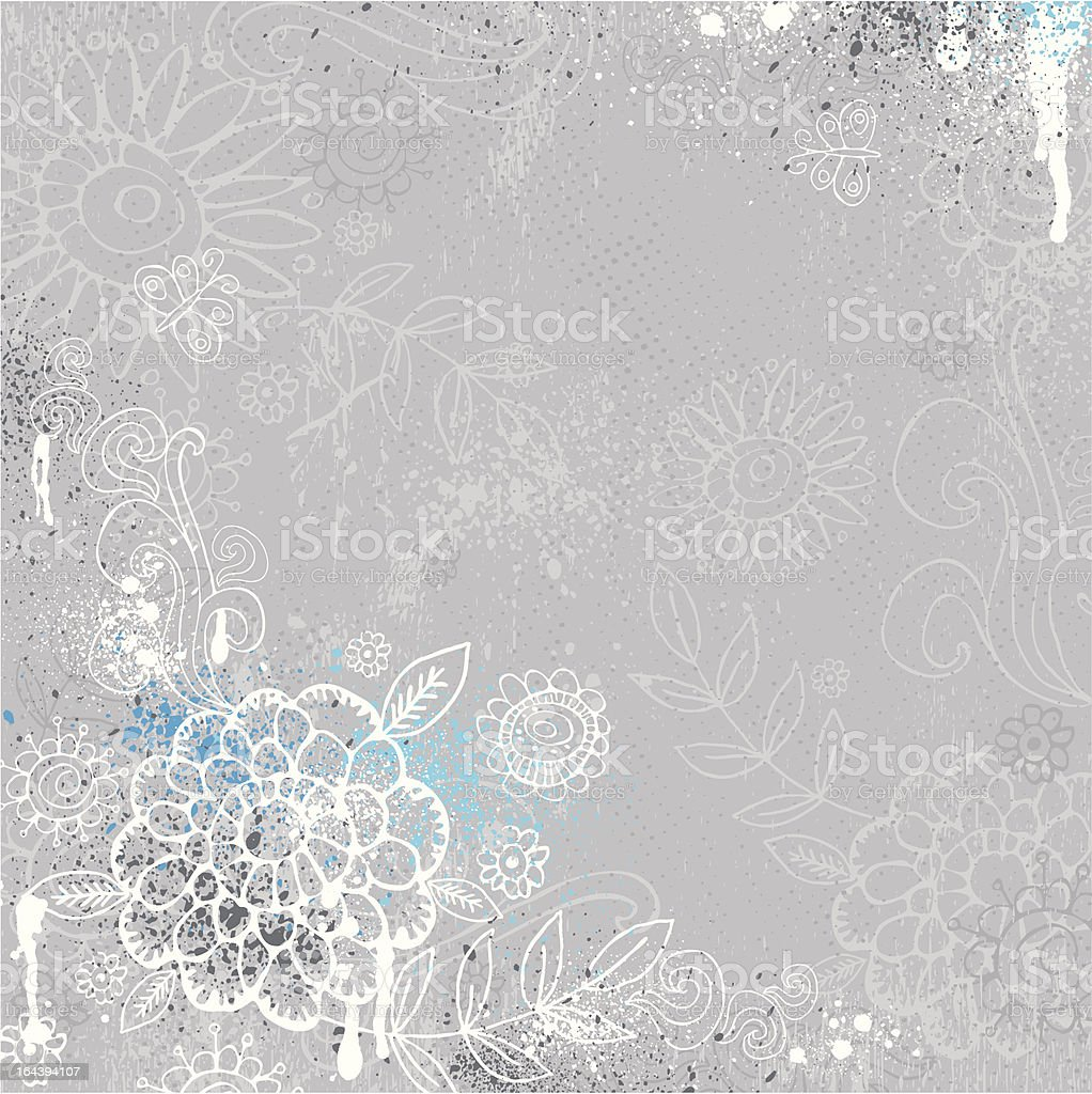 hand draw  flowers on grey background royalty-free stock vector art